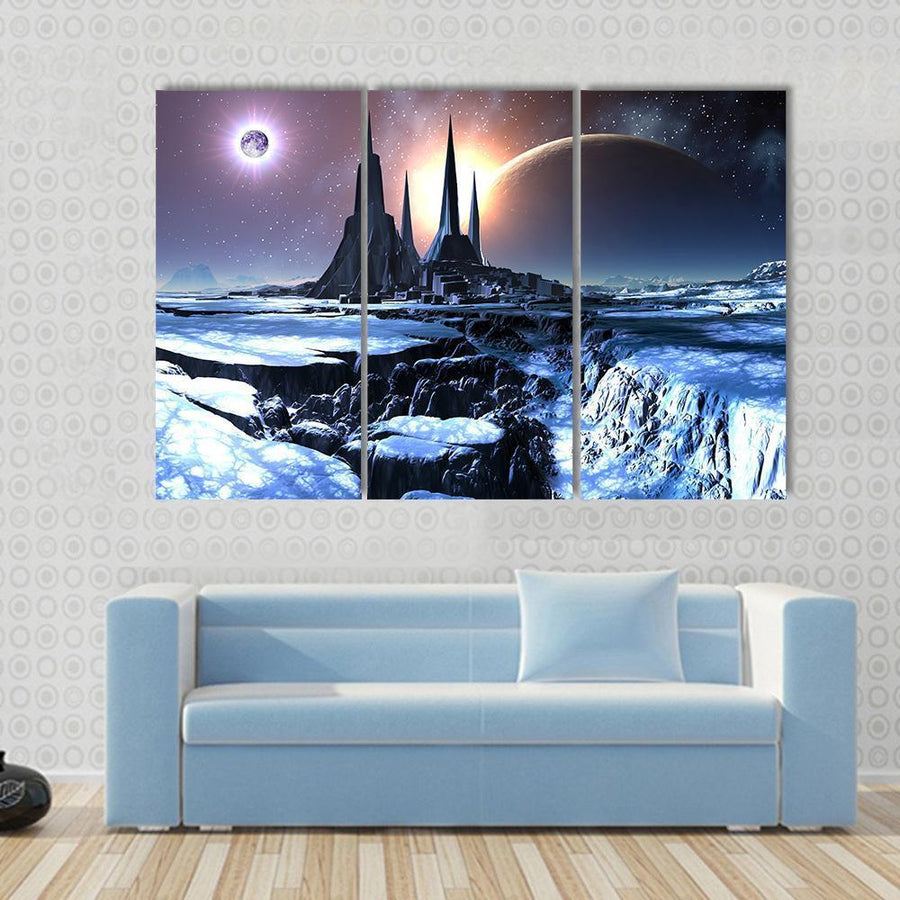 Snowy Alien Planet Canvas Panel Painting Tiaracle