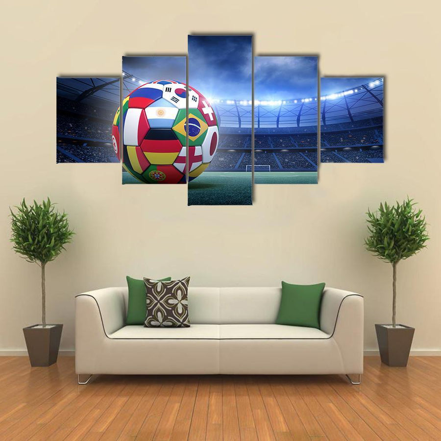Soccer Ball In The Stadium Multi Panel Canvas Wall Art 5 Pieces(A) / Medium / Canvas Tiaracle