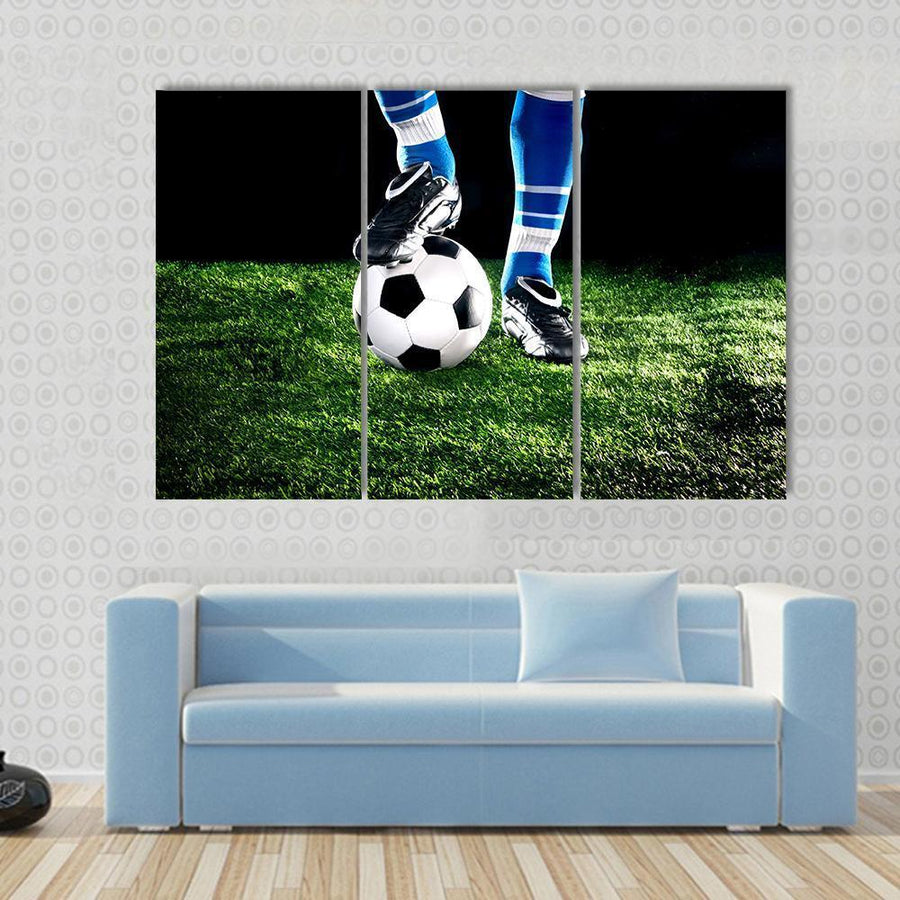 Soccer Ball With Player Feet On The Football Field Multi Panel Canvas Wall Art 3 Pieces / Small / Canvas Tiaracle