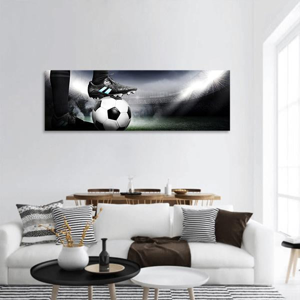 Soccer Player In Arena Panoramic Canvas Wall Art Tiaracle