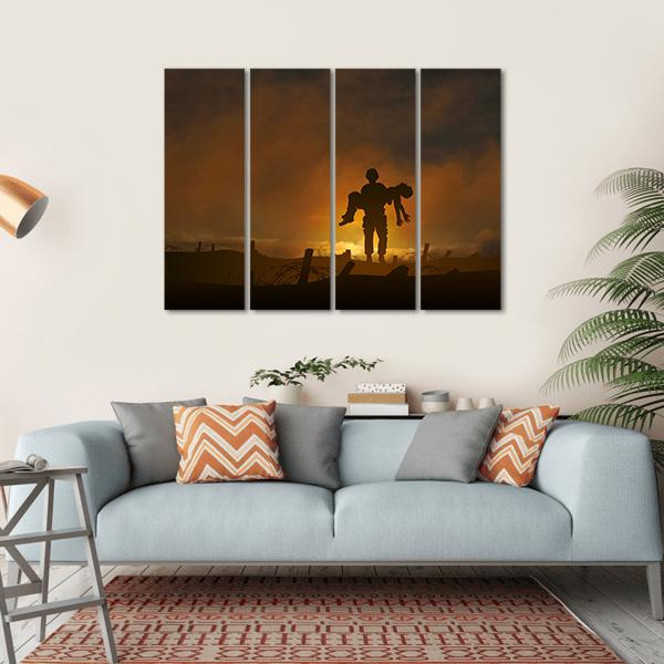 Soldier Carrying A Wounded Comrade Multi Panel Canvas Wall Art 1 Piece / Small / Gallery Wrap Tiaracle