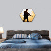 Soldier Silhouette With Machine Gun Hexagonal Canvas Wall Art 1 Hexa / Small / Gallery Wrap Tiaracle