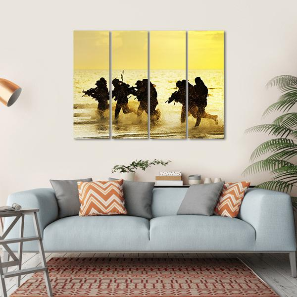 Soldiers Run In Army Uniform Multi Panel Canvas Wall Art 1 Piece / Small / Gallery Wrap Tiaracle