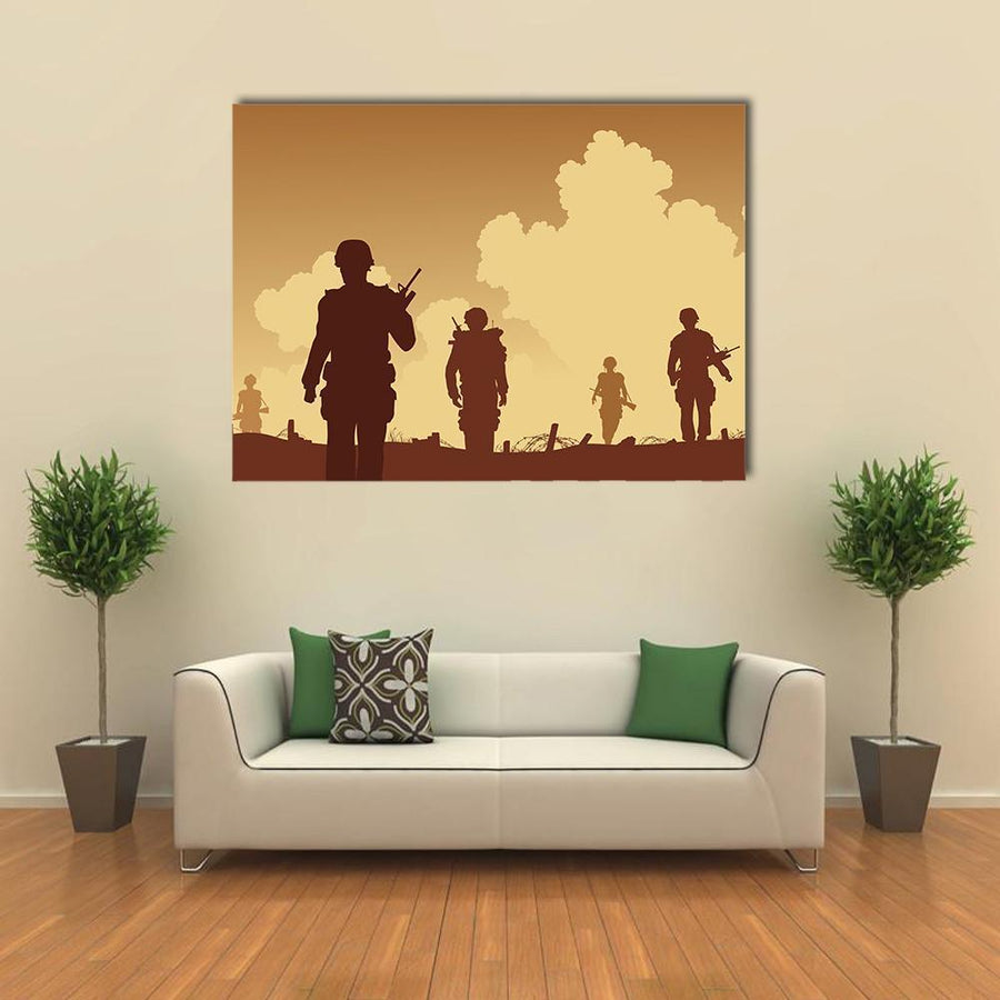 Soldiers Walking On Patrol Multi Panel Canvas Wall Art 4 Horizontal / Small / Gallery Wrap Tiaracle