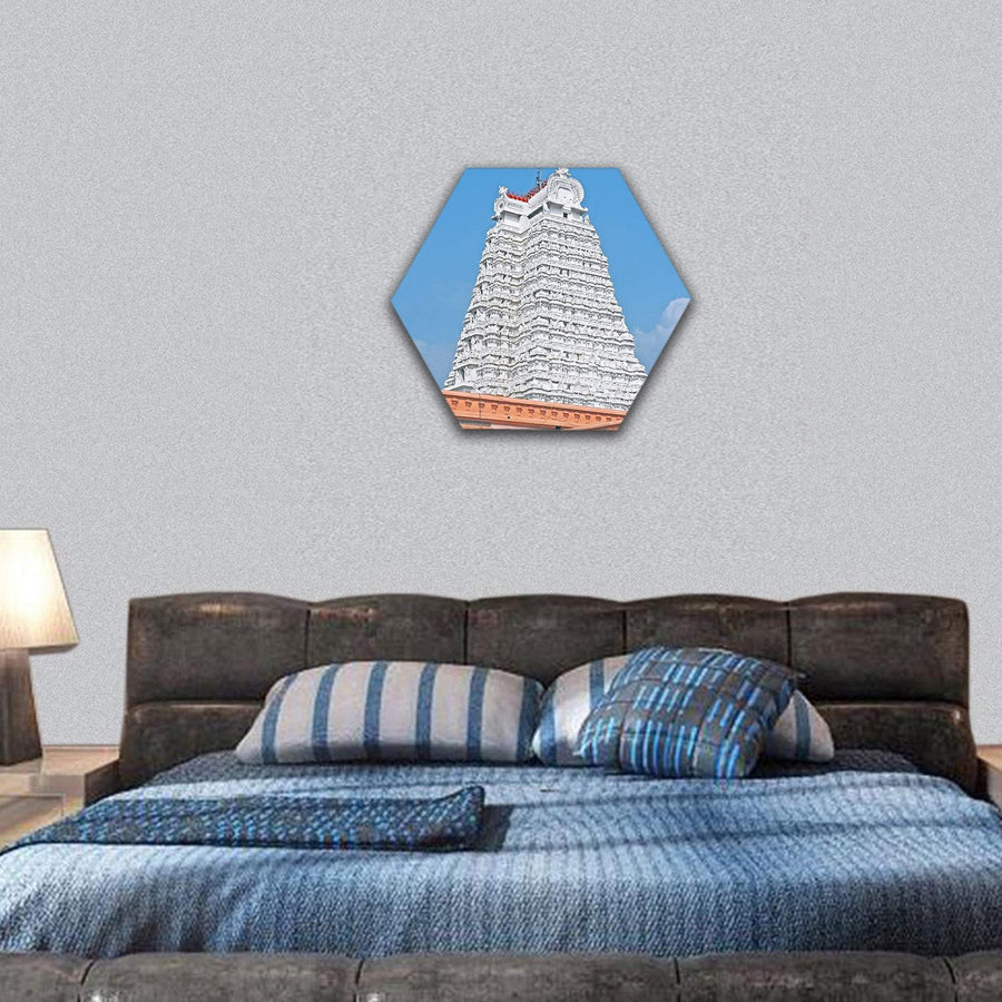 South Indian Temple Hexagonal Canvas Wall Art 7 Hexa / Small / Gallery Wrap Tiaracle