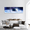 Space Planets And Nebula Panoramic Canvas Wall Art 3 Piece / Small Tiaracle