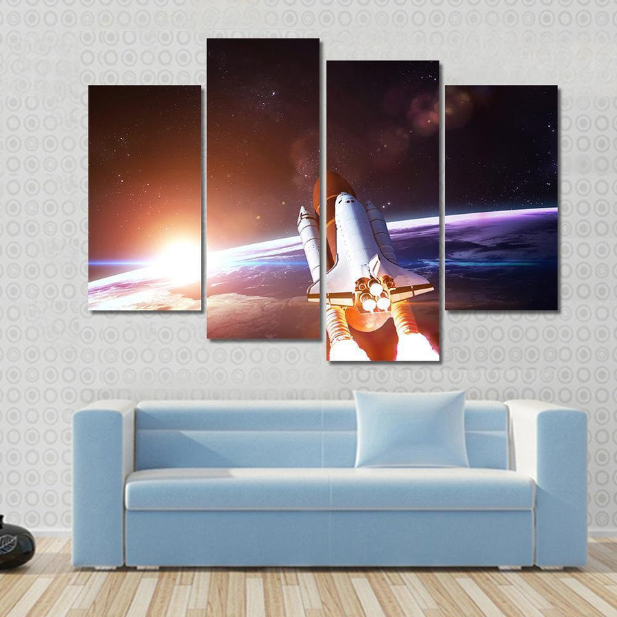 Space Shuttle Taking Off On A Mission Canvas Panel Painting Tiaracle