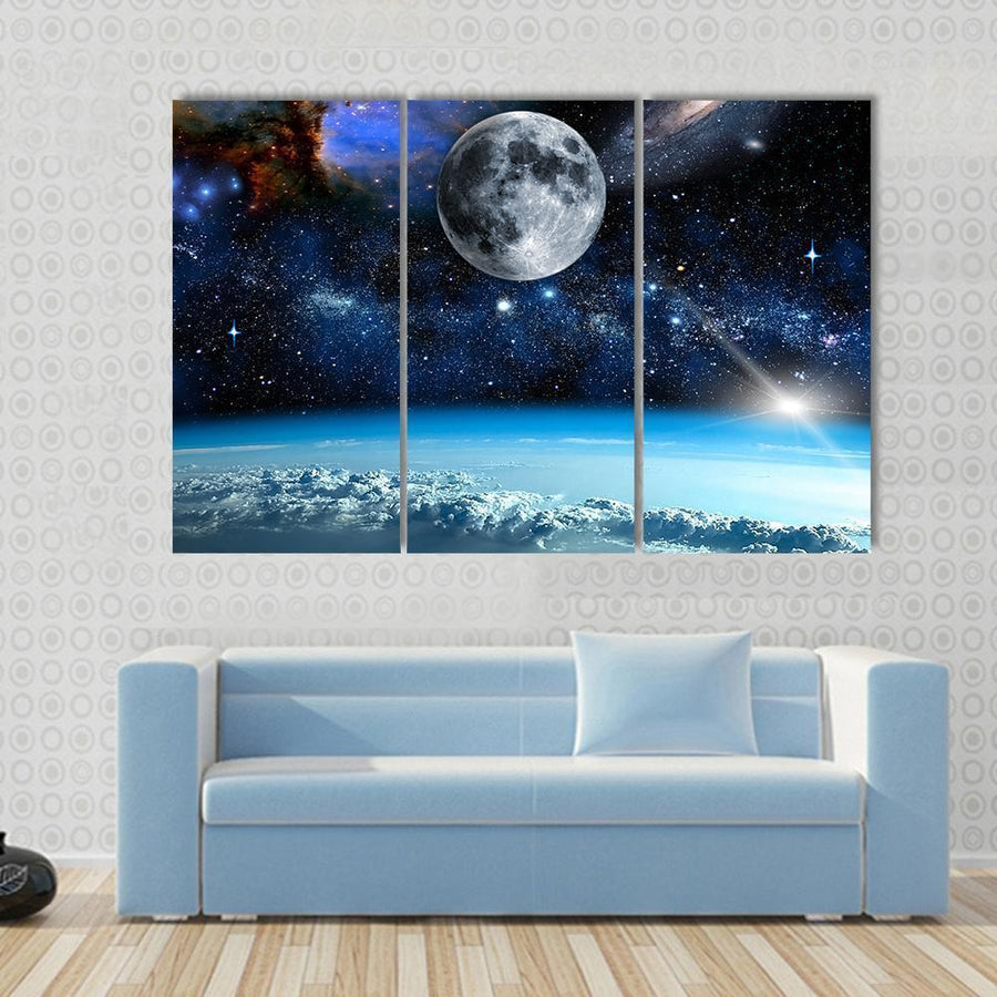 Space View From Earth Space Multi Panel Canvas Wall Art 3 Pieces / Small / Canvas Tiaracle