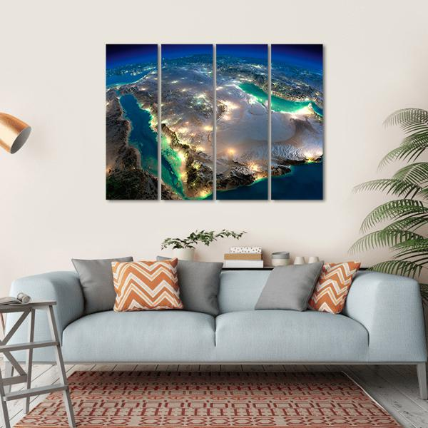 Space View Of Saudi Arabia Multi Panel Canvas Wall Art-5 Horizontal-Small-Gallery Wrap-Tiaracle