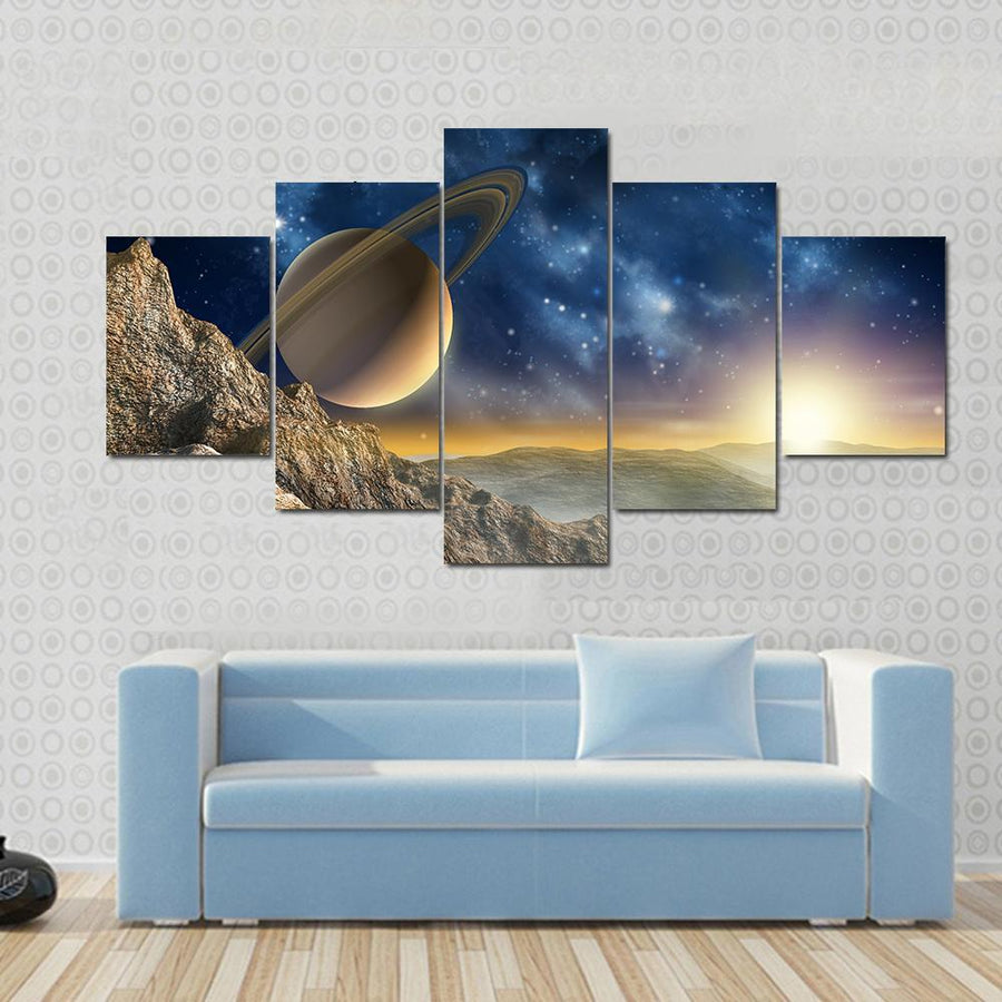 Gorgeous Spacescape As Seen From One Of Saturn Moon Canvas Panel Painting Tiaracle