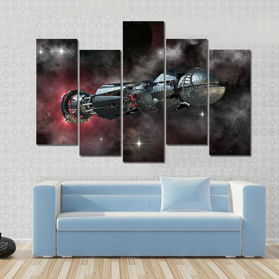 Spaceship In Interstellar Travel, On A Galactic Starfield For Alien Canvas Panel Painting Tiaracle