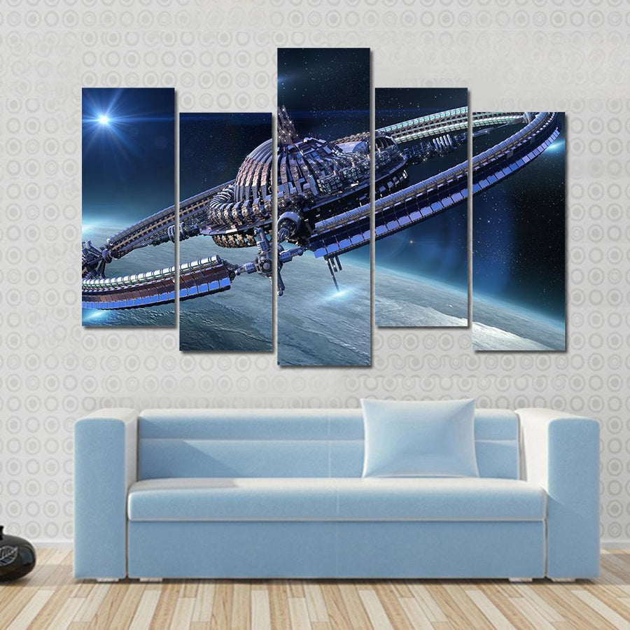 Spaceship With Dome Core And Gravitation Wheel Canvas Panel Painting Tiaracle