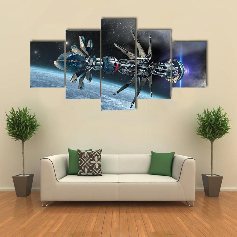 Spaceship With Warp Drive Multi Panel Canvas Wall Art 3 Pieces / Medium / Canvas Tiaracle
