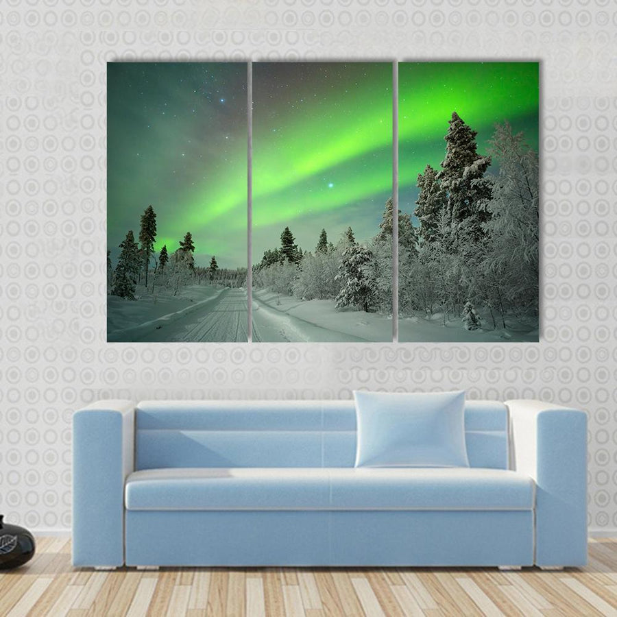 Spectacular Aurora Borealis  In Winter  4 Piece Canvas Panel Painting Tiaracle