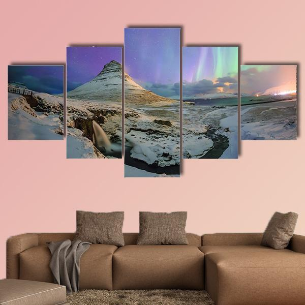 Spectacular Northern Lights Appear Over Mount Kirkjufell Multi Panel Canvas Wall Art 3 Pieces / Medium / Canvas Tiaracle
