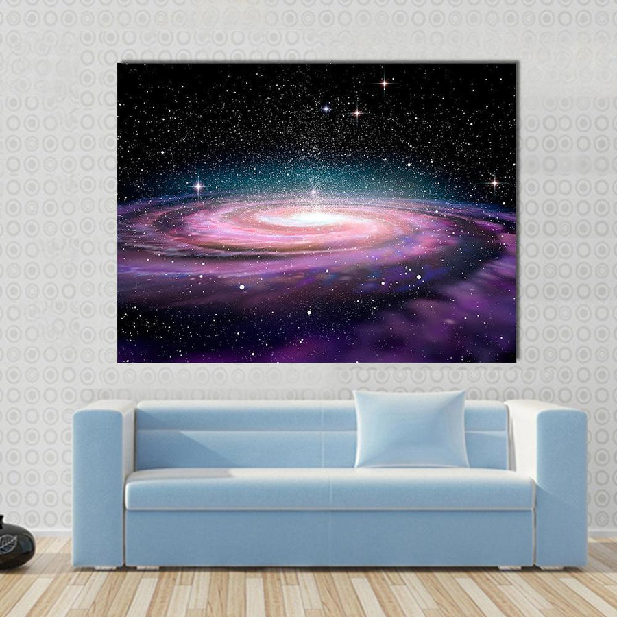 Spiral Galaxy In Deep Space Illustration Multi Panel Canvas Wall Art 3 Pieces / Small / Canvas Tiaracle