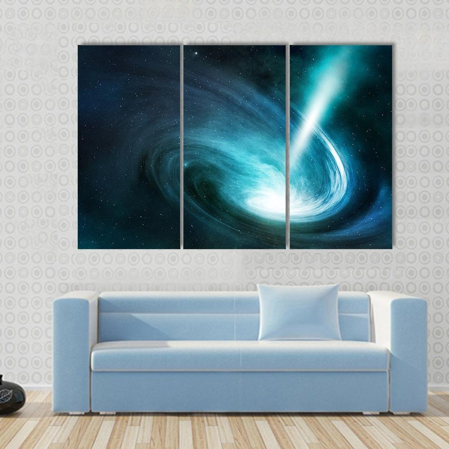 Spiral Nebula And Light Ray Multi Panel Canvas Wall Art 3 Pieces / Small / Canvas Tiaracle