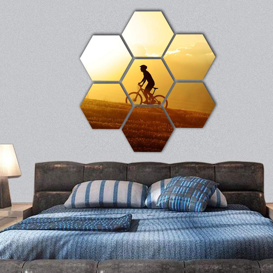 Sport Man Cycling Uphill Hexagonal Canvas Wall Art 1 Hexa / Small / Gallery Wrap Tiaracle