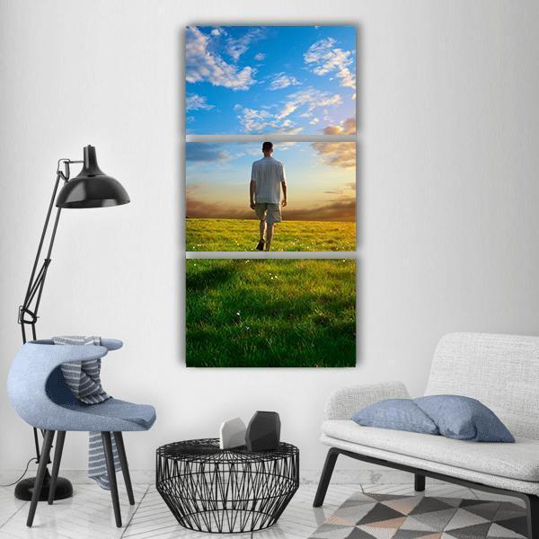 Spring Field Grass At Sunset Vertical Canvas Wall Art 1 Vertical / Small / Gallery Wrap Tiaracle