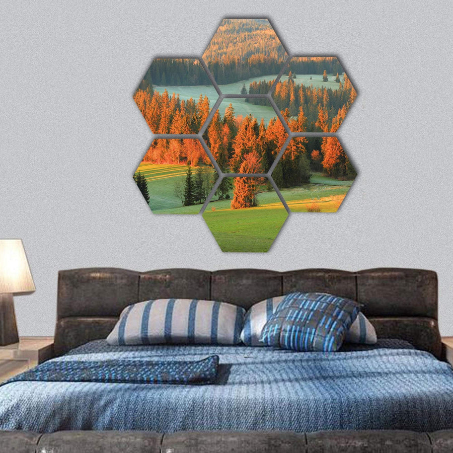 Spring Green Valley In Morning Hexagonal Canvas Wall Art 1 Hexa / Small / Gallery Wrap Tiaracle