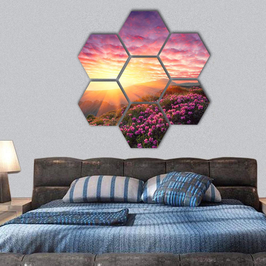 Spring Landscape In Mountains And The Sky With Clouds Hexagonal Canvas Wall Art 1 Hexa / Small / Gallery Wrap Tiaracle