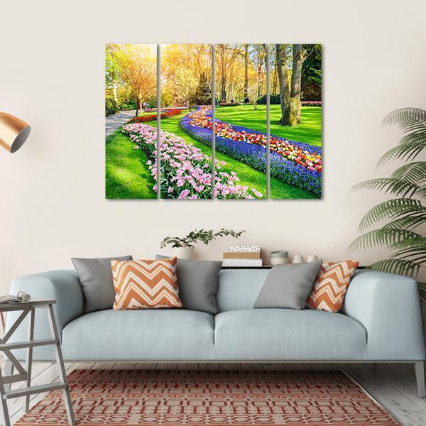 Spring Landscape With Multicolor Tulips Multi Panel Canvas Wall Art 1 Piece / Small / Gallery Wrap Tiaracle