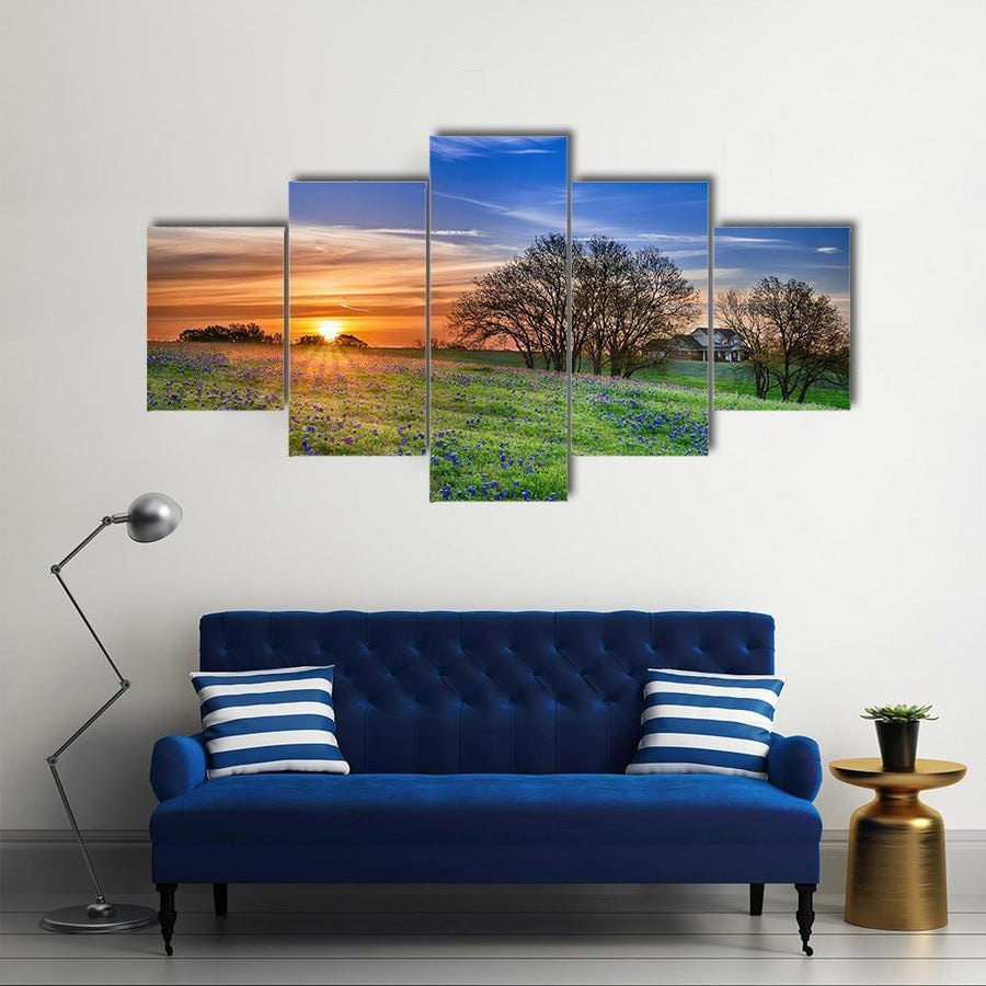 Spring Wildflower Field At Sunrise Multi Panel Canvas Wall Art 3 Pieces / Medium / Canvas Tiaracle