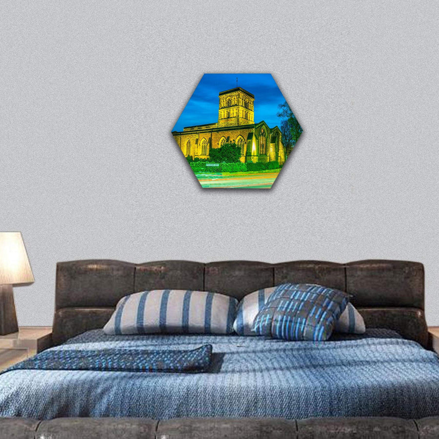 St Nicholas Church In Leicester Hexagonal Canvas Wall Art 7 Hexa / Small / Gallery Wrap Tiaracle