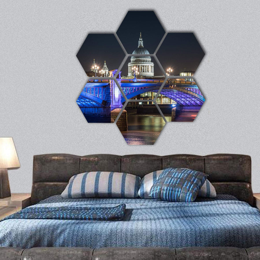 St Paul's Cathedral In London Hexagonal Canvas Wall Art 1 Hexa / Small / Gallery Wrap Tiaracle