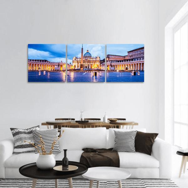 St Peter Basilica In The Vatican Of Rome Panoramic Canvas Wall Art 1 Piece / Small Tiaracle