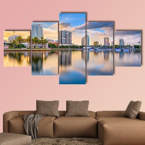 St. Petersburg In Florida Downtown City Skyline On The Bay Multi Panel Canvas Wall Art 1 Piece / Medium / Canvas Tiaracle