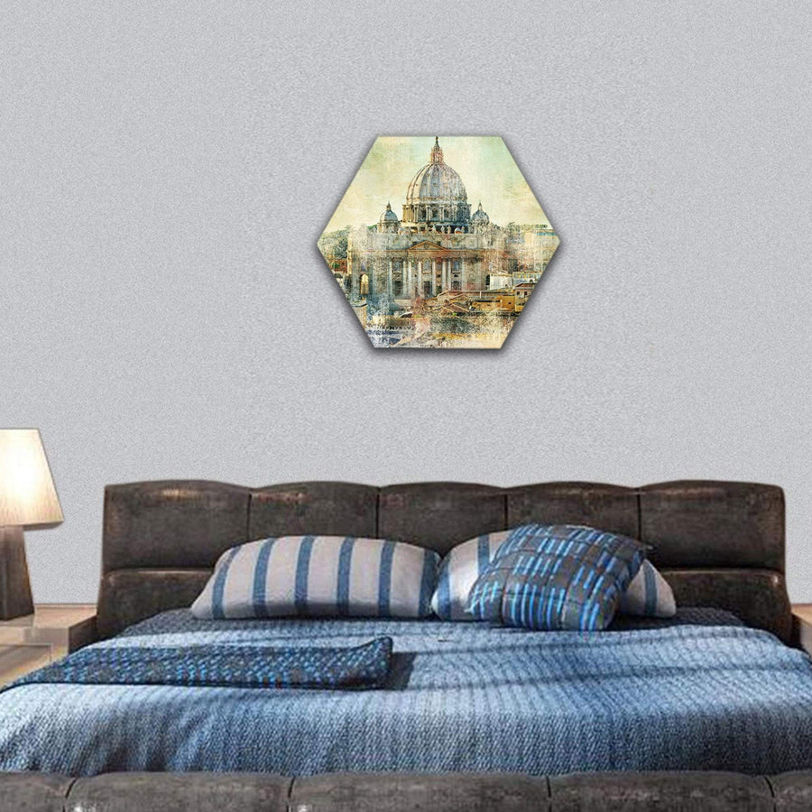 St Pietro Vatican City Painting Style Hexagonal Canvas Wall Art Tiaracle
