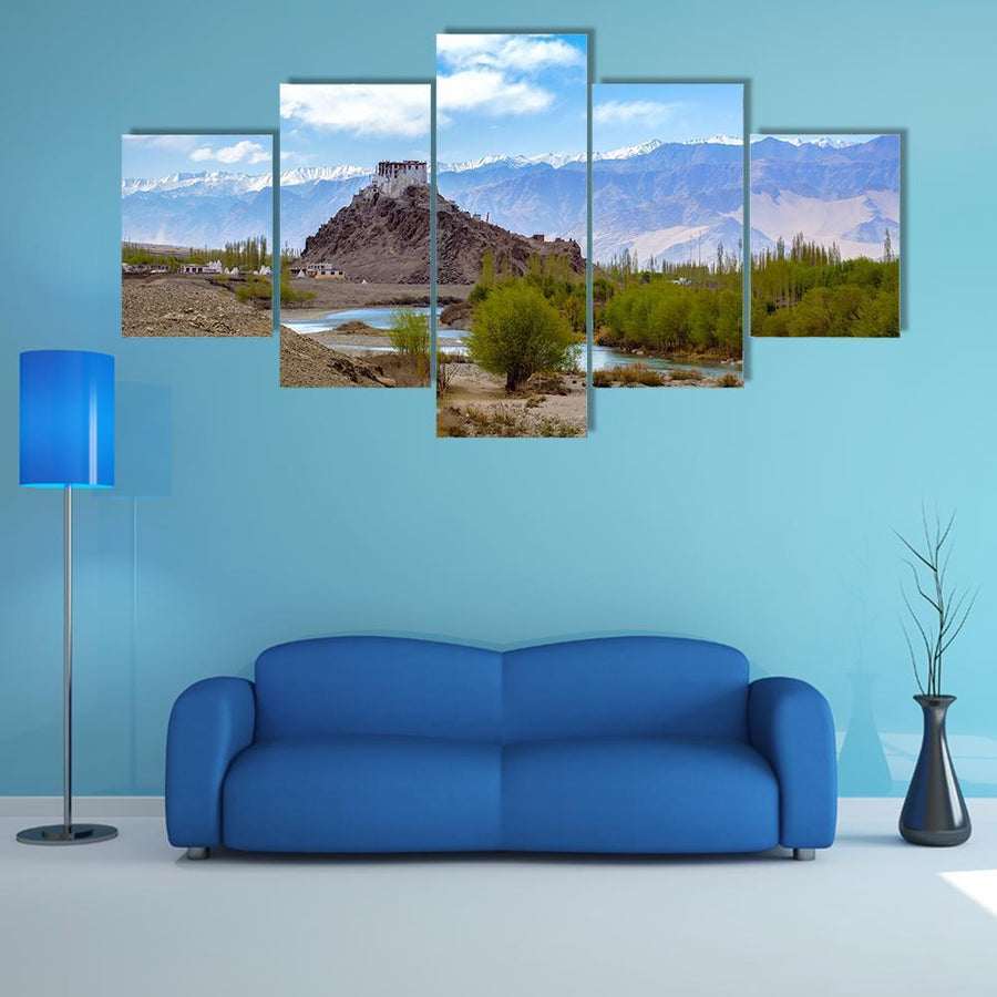 Stakna monastery In Leh-Ladakh Multi Panel Canvas Wall Art 5 Pieces(A) / Medium / Canvas Tiaracle