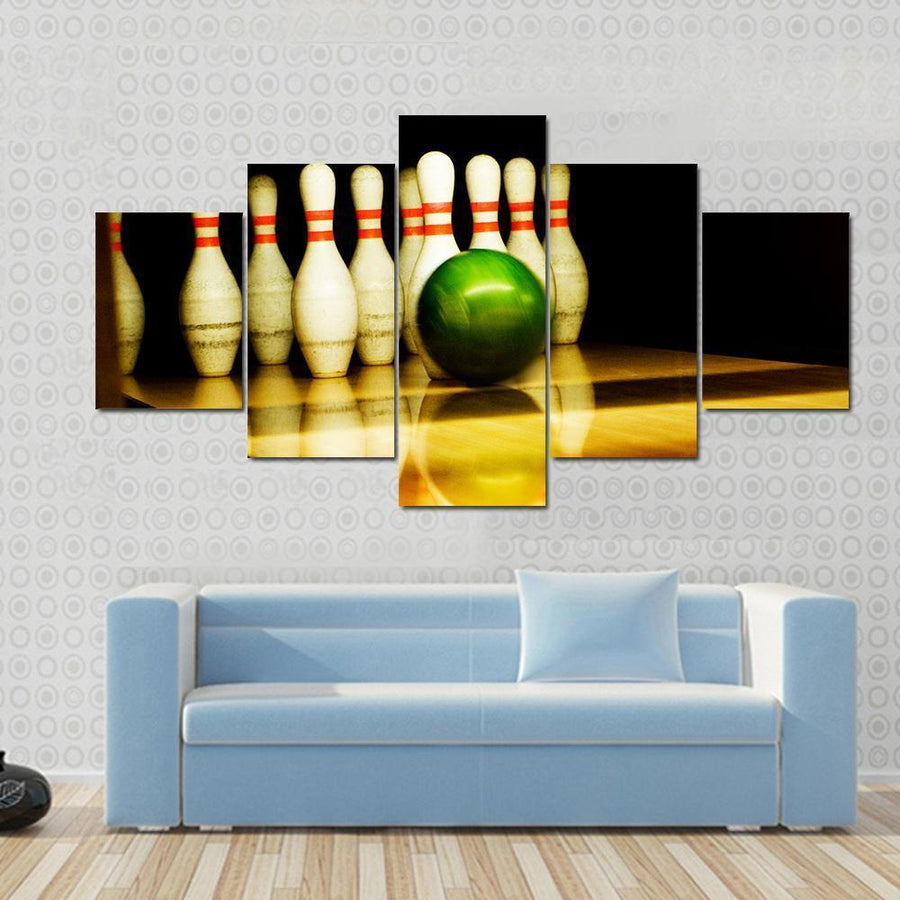Standing Bowing Pins And Bowl Canvas Panel Painting Tiaracle
