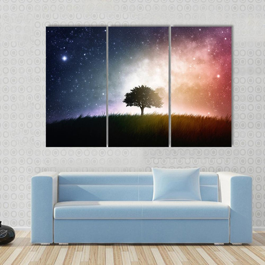 Star And Galaxies Behind The Tree Multi Panel Canvas Wall Art 3 Pieces / Small / Canvas Tiaracle