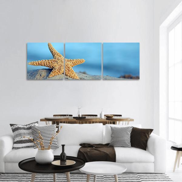 Starfish On Sandy Beach Panoramic Canvas Wall Art Tiaracle