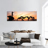 Statues Of Dolphins In Mexico Panoramic Canvas Wall Art Tiaracle