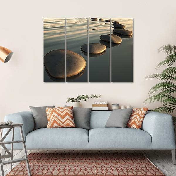 Step Stones To The Sunset Multi Panel Canvas Wall Art 1 Piece / Small / Gallery Wrap Tiaracle