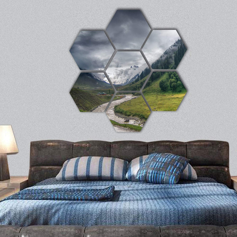 Storm Clouds Over Mountains Of Ladakh Hexagonal Canvas Wall Art 1 Hexa / Small / Gallery Wrap Tiaracle