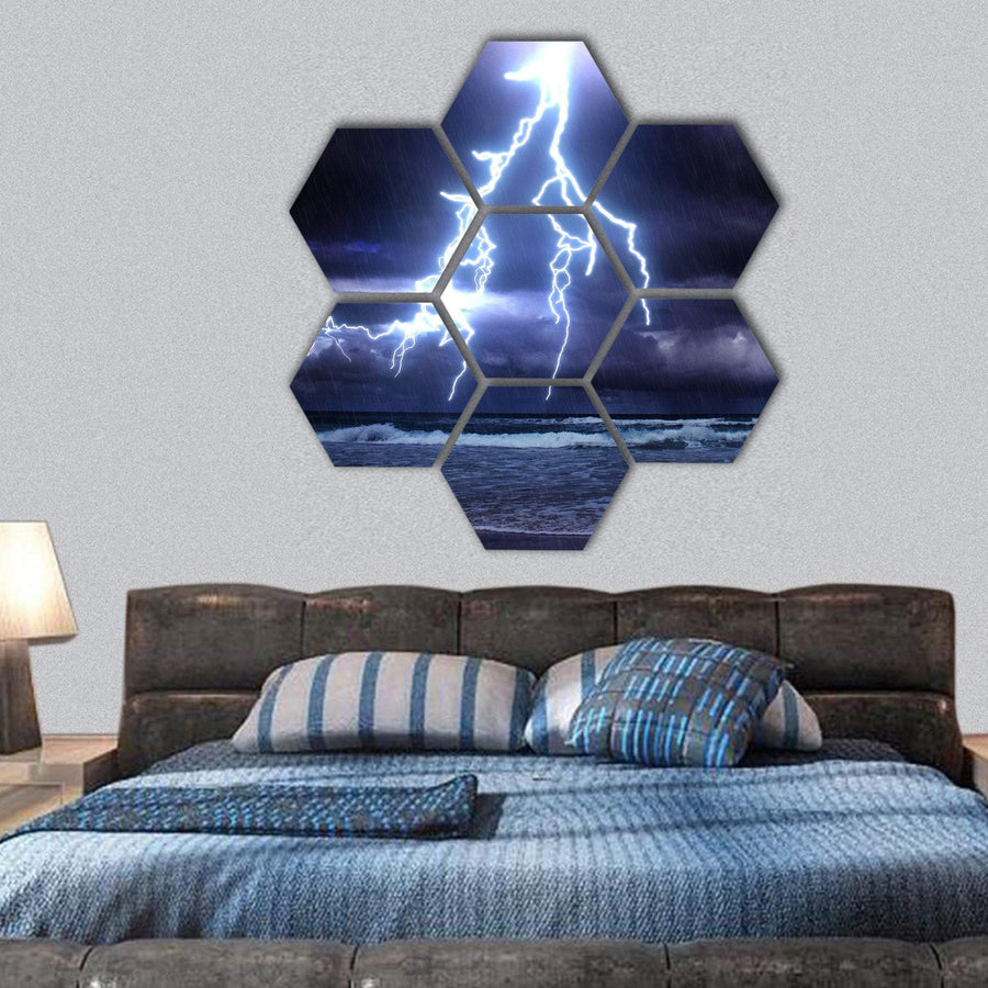 Storm On The Sea With Lightnings Hexagonal Canvas Wall Art 1 Hexa / Small / Gallery Wrap Tiaracle