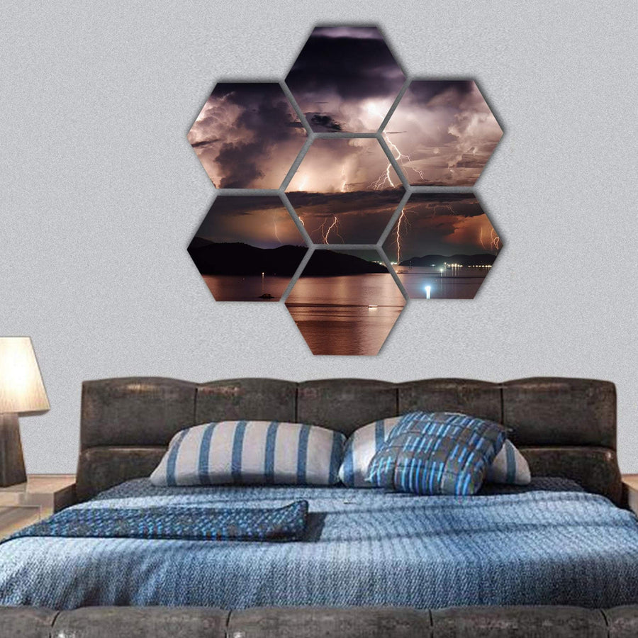 Stormy Sky And Lightning Hexagonal Canvas Wall Art 1 Hexa / Small / Gallery Wrap Tiaracle
