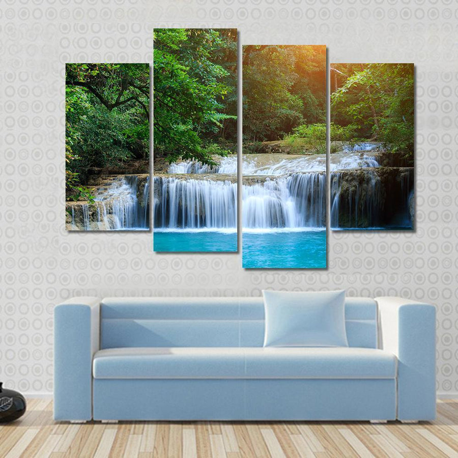 Stream In Green Forest Canvas Panel Painting Tiaracle