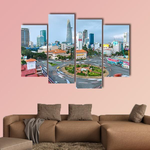Street In Ho Chi Minh City Vietnam Multi Panel Canvas Wall Art 3 Pieces / Small / Gallery Wrap Tiaracle