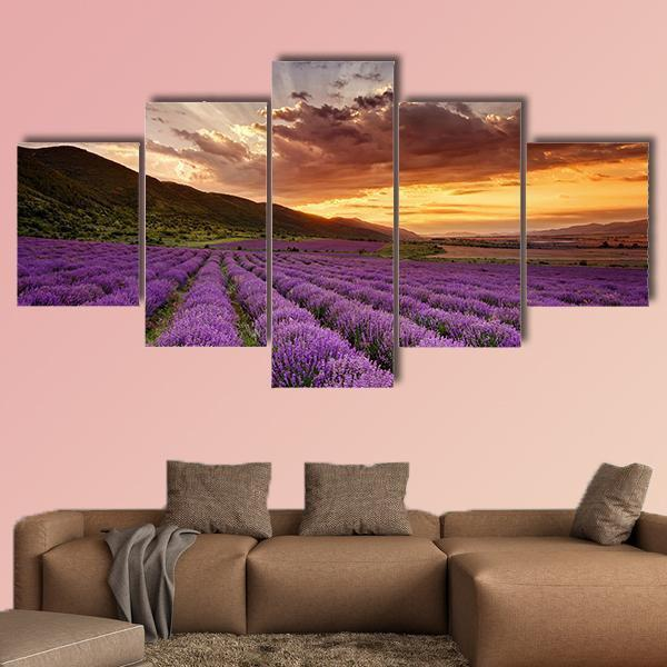 Stunning Landscape With Lavender Field At Sunrise Multi Panel Canvas Wall Art 1 Piece / Medium / Canvas Tiaracle