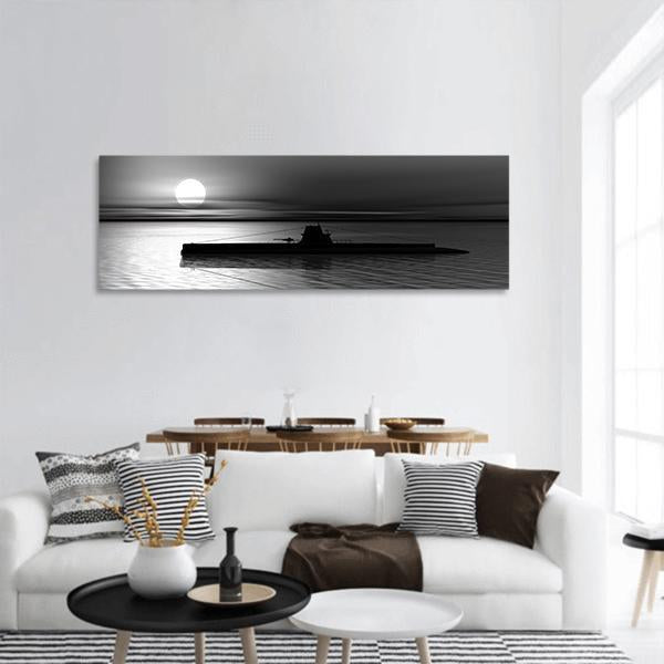 Submarine At Sea Sunset Panoramic Canvas Wall Art Tiaracle