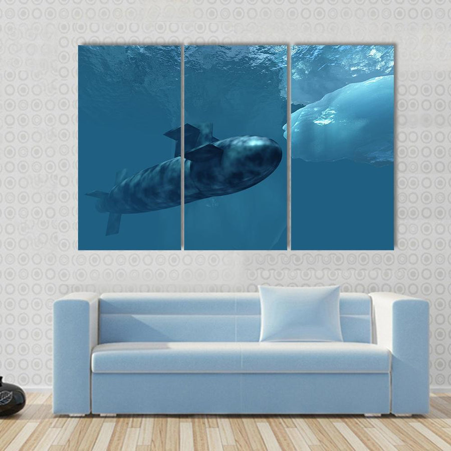 Submarine Beneath Polar Ice Multi Panel Canvas Wall Art 3 Pieces / Small / Gallery Wrap Tiaracle