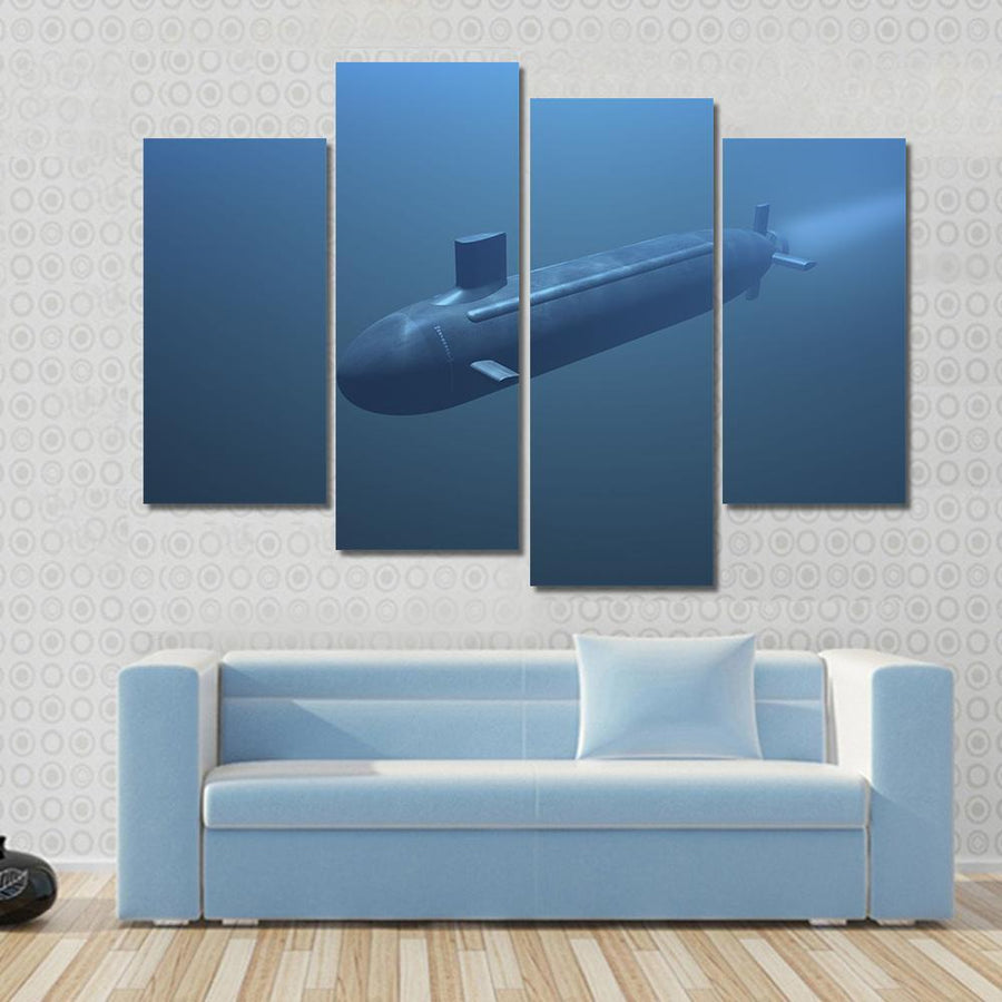 Submarine Under Water Front View Multi Panel Canvas Wall Art 3 Pieces / Small / Gallery Wrap Tiaracle