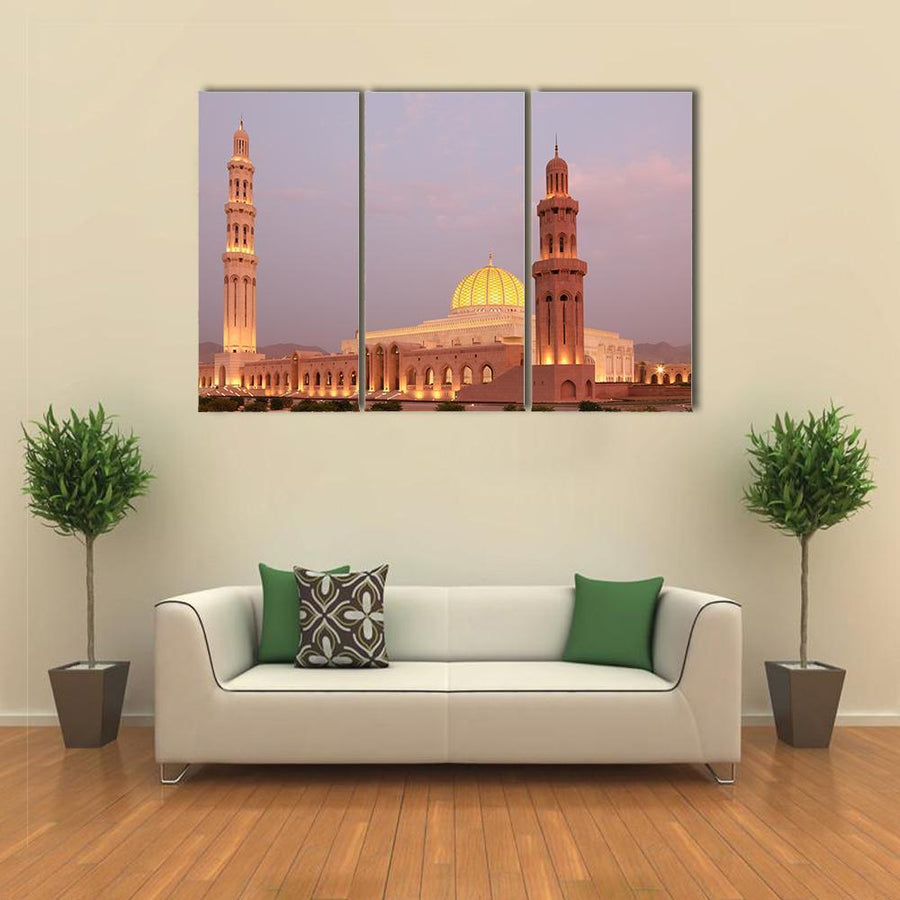 Beautiful View Of Sultan Qaboos Grand Mosque Canva 1 Piece / Medium / Canvas Tiaracle