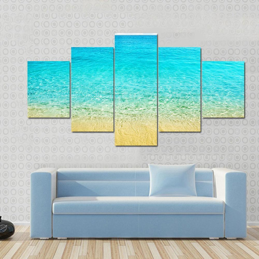Summer Beach With Clear Water And Blue Cloudy Sky Canvas Panel Painting Tiaracle