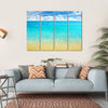 Summer Beach With Clear Water And Blue Cloudy Sky Multi Panel Canvas Wall Art 4 Horizontal / Small / Gallery Wrap Tiaracle